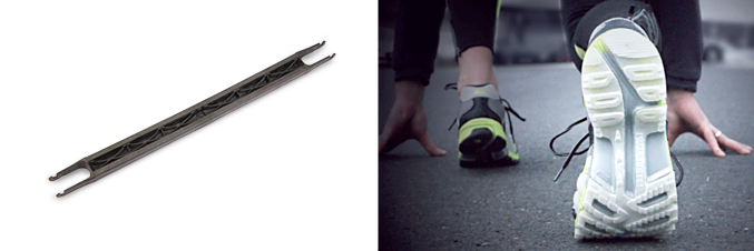 Carriers for roller skis made of LUVOCOM® carbon-fibre-reinforced and outer sole made of LUVOCOM® P